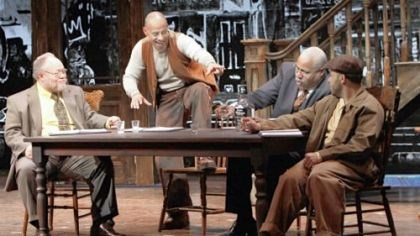 """The Piano Lesson"" Stephen McKinley Henderson, left, is Wining Boy, Ruben Santiago-Hudson is Boy Willie, Bill Nunn is Doaker and Jason Dirden is Lymon in a staged reading of August Wilson's ""The Piano Lesson"" at the Kennedy Center in Washington."