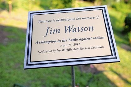 The plaque Jim Watson's brushed metal plaque in the Rosalinda Sauro Sirianni Garden dedicated by the North Hills Anti-Racism Coalition.