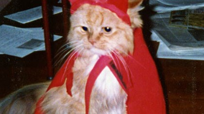 The real 'Ralph the Cat' Ralph, dressed as a devil in this photo, was the inspiration for Krenn's radio character, Ralph the Cat.