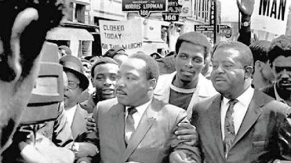 The Rev. Dr. Martin Luther King Jr. and the Rev. Ralph Abernathy The Rev. Dr. Martin Luther King Jr. and the Rev. Ralph Abernathy, right, lead a march on behalf of striking Memphis sanitation workers on March 28, 1968.