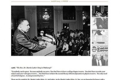 The Rev. Martin Luther King Jr. The Rev. Martin Luther King Jr. speaks at the University of Pittsburgh, circa 1966. The Digs features this photo today, the holiday marking the life and works of the late civil rights leader.