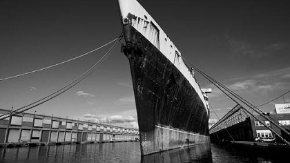 The SS United States' bow was tall and narrow The SS United States' bow was tall and narrow to cut through North Atlantic waves.