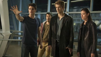 "'The Tomorrow People' ""The Tomorrow People,"" premiering this fall on The CW, is about humans born with paranormal abilities who are hunted down by a paramilitary group of scientists. It stars Robbie Amell, left, Aaron Woo, Luke Mitchell and Peyton List."