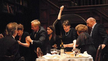 "The Westons of August:Osage County The cast of Playhouse Rep's ""August: Osage County,"" from left: Mark Staley as Steve, Kathleen Turco-Lyon as Barbara, David Whalen as Bill, Elizabeth Ruelas as Ivy, Mary Rawson as Violet, Sharon Brady as Mattie Fae Aiken and Weston Blakesley as Charlie."
