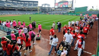 Thousands circled the playing field at PNC Park Thousands circled the playing field at PNC Park on May 23 for the March of Dimes' March for Babies on May 23. PNC Park is one of the nation's most handicapped-accessible major league ballparks.