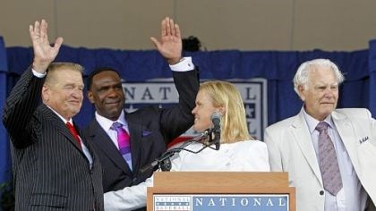 Three for the hall Baseball Hall of Fame chairman Jane Forbes Clark, second from right, stands with inductees Whitey Herzog, left, Andre Dawson, center, and Doug Harvey, right, at the end of the induction ceremony in Cooperstown, N.Y.