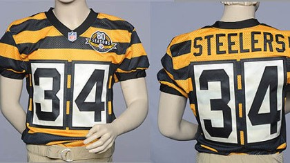 throwback Front and rear view of the Steeler throwback jersey unveiled today.