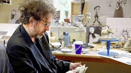 "Tim Burton Director/producer Tim Burton studies a model of Sparky during the making of ""Frankenweenie."""