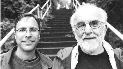 "Tim Fabian Bob Regan Tim Fabian (left) and Bob Regan pose near some steps in Pittsburgh. From the book ""The Steps of Pittsburgh"""