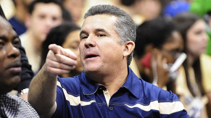 Todd Graham Pitt's new head football coach, Todd Graham, points to the crowd as he watches Saturday's game at the Petersen Events Center.