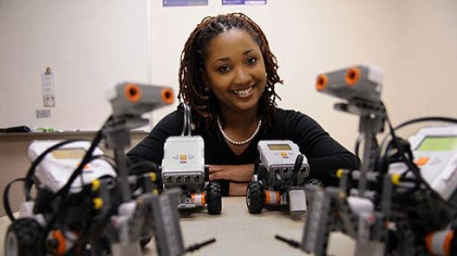 Tonya Groover Tonya Groover, a University of Pittsburgh graduate student, helps pique STEM interest by having high school students build robots.