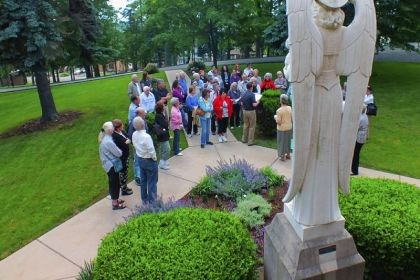 "Touring The purpose of the Twilight Walking Tour at the Sisters of St. Francis of the Providence of God, Sister Barbara Zilch said, was ""for people to come and get to know the sisters and to experience what is on their property."""