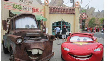 Tow Mater and Lightning McQueen Tow Mater and Lightning McQueen greet visitors to Cars Land at Disney California Adventure in Anaheim.