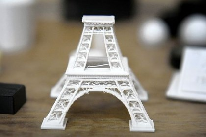 Tower Oblock Junior High School students are using new 3-D printing technology to create objects like this replica of the Eiffel Tower.