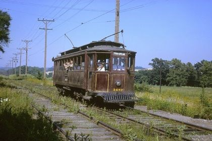 Trolley 2 A 1905 Pittsburgh Railways streetcar, No. 3487, takes visitors for a ride on June 23, 1963, opening day of the trolley museum.