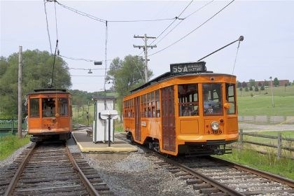 Trolleys 1 Two classic Pittsburgh streetcars run by Fairgrounds platform at the Pennsylvania Trolley Museum in Chartiers.