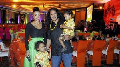 Troy and Theodora Polamalu with family Troy Polamalu and his wife Theodora, with kids Paisios, and Troy holding Ephraim.
