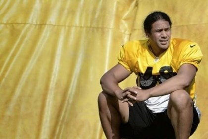 troy polamalu file sitting Pittsburgh Steelers Troy Polamalu takes a break during August workouts at training camp at St Vincent College in Latrobe.