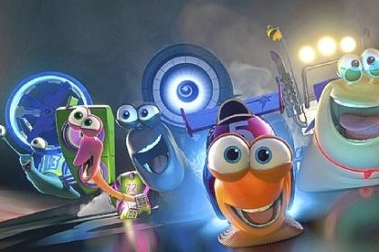 "'Turbo' Turbo (center, voiced by Ryan Reynolds) and the Racing Snails in ""Turbo."""