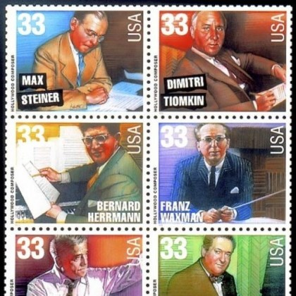 U.S. Postage stamps The U.S. Postal Service honored six distinguished movie composers on stamps in 1999.
