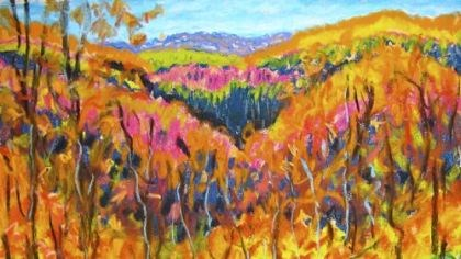 "'Van Glow' This is a recent painting of fall color in Greene County by David Lesako, Miriam Rubin's husband, that they've been calling ""Van Glow."""