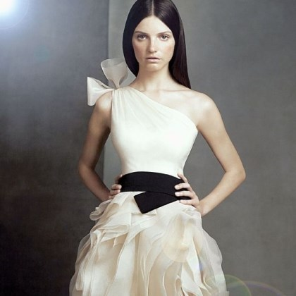 Vera Wang prom dress This one-shoulder organza dress with hand-cut bias-flange skirt and elastic black belt is from the Vera Wang WHITE collection. It's available from David's Bridal, www.davidsbridal.com.