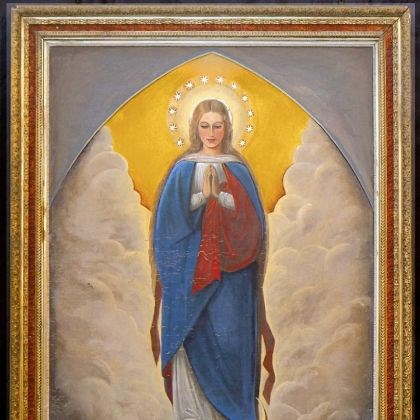 Virgin Mary painting This painting of the Virgin Mary was commissioned in Johnstown by a Civil War veteran, and it hung in St. Mary's Immaculate Conception Church. It was given to the Benedictine Sisters of Pittsburgh some time after the 1889 Johnstown Flood. Recently the sisters donated the painting to 1901 Church.