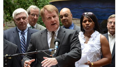 Voter ID Allegheny County Executive Rich Fitzgerald talks about taking legal action to challenge the voter ID law at a news conference Friday in the courtyard of the Allegheny County Courthouse.