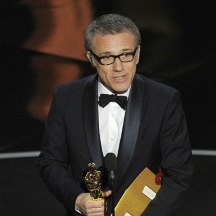 "waltz suporting actor Christoph Waltz accepts the award for best actor in a supporting role for ""Django Unchained."""