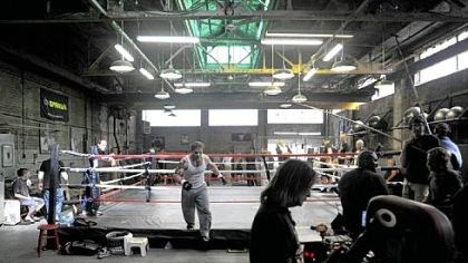 """Warrior"" Production of the film ""Warrior"" has turned this room in the Gage Building in the Strip District into a gym. In the film, Nick Nolte plays a retired steelworker and one-time boxer who trains his son, played by Tom Hardy, to compete in a mixed martial arts tournament."