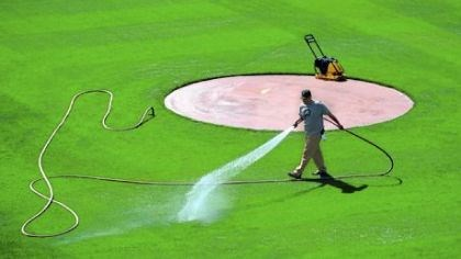 Watering PNC Park Groundskeeper Matt Gerhardt waters the infield last week.