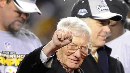 Way to go Steeler Nation! Dan Rooney acknowledges the fans after his team defeated the Ravens in the AFC Championship at Heinz Field Sunday night.