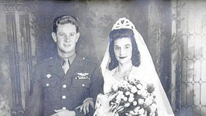 Wedding photo Copy of a wedding photo of George and Magdalen Fisher, taken on Nov. 22, 1945.