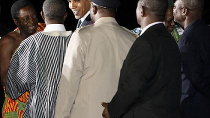 Welcome in Accra President Barack Obama, third from left, is greeted in Accra, Ghana, after his arrival this evening.
