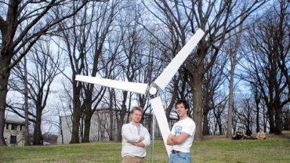 Wind turbine Micah Toll, right, a junior at the University of Pittsburgh, and Shaun Espenshade, a junior at Duquesne University, friends from Lebanon, Lebanon County, with their inexpensive wind turbine.