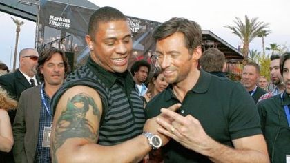 Woodley and Jackman Steelers linebacker LaMarr Woodley shows Hugh Jackman his Wolverine tattoo during the premiere of X-Men Origins: Wolverine in Tempe, Arizona on Monday.