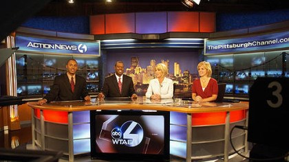 WTAE morning news team rehearses WTAE's morning news team -- meteorologist Demetrius Ivory, anchors Andrew Stockey and Kelly Frey and traffic reporter Melanie Taylor -- rehearse on the station's new set at the Channel 4 studio in Wilkinsburg yesterday.