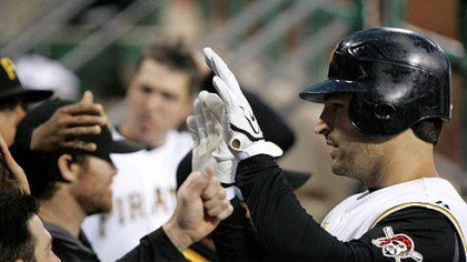 Xavier Nady Xavier Nady, right, is greeted as he returns to the dugout after hitting a solo homer off Milwaukee Brewers pitcher Dave Bush in the fifth inning of a baseball game at PNC Park last night.