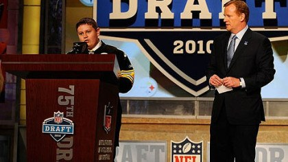 Zachary Hatfield and Roger Goodell NFL Commissioner Roger Goodell, right, watches as Zachary Hatfield, 16, announces the Steelers' first round pick at the NFL Draft in New York Thursday. Hatfield made the announcement through the efforts of the Make-A-Wish Foundation.