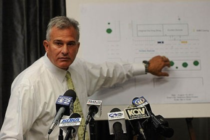 zappala presser Allegheny County District Attorney Stephen A. Zappala Jr. speaks about the recent Oakland shooting, drawing attention to a diagram of the crime scene.