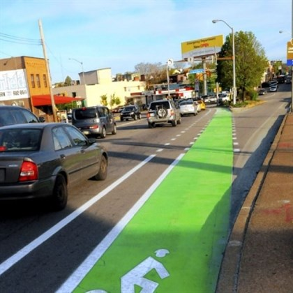 bright green bike lanes The city has painted bike lanes bright green with a special paint that is slip-resistant and lasts longer. Mayor Bill Peduto is working with the Pittsburgh Downtown Partnership to create Downtown's first dedicated bike lane.