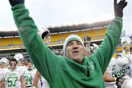 Joe Rossi South Fayette head coach Joe Rossi celebrates with his players after winning a WPIAL AA football Championship game at Heinz Field.