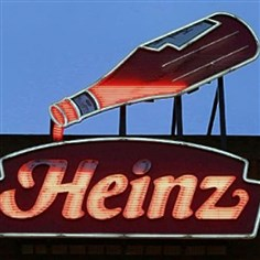 heinz bottle sign An animated neon Heinz Ketchup bottle that was once on the company's North Side factory in Pittsburgh, now sits atop the Senator John Heinz History Center in Pittsburgh.