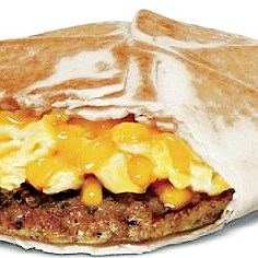 Taco Bell breakfast Taco Bell's new Johnsonville sausage and egg wrap is one of the items the fast-food chain will be offering on its new breakfast menu.