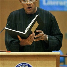 Wideman Celebrated author John Edgar Wideman reads at the University of Pittsburgh in 2004. His son, Jake, will have a parole hearing Tuesday in Arizona.