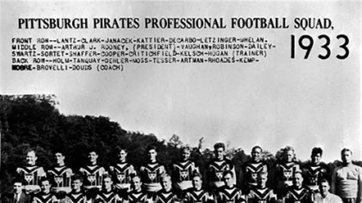 1933 team photo  A 1933 team photo from the first year and the Steelers were named Pittsburgh Pirates. The city of Pittsburgh emblem is on their jerseys.