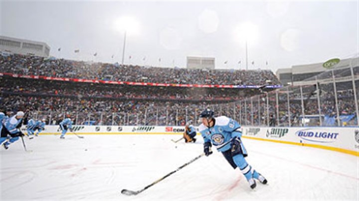 2008 Winter Classic Sidney Crosby warms up prior to the start of the NHL's inaugural Winter Classic game, Jan. 1, 2008, at Ralph Wilson Stadium in Buffalo against the Sabres. The Penguins won 2-1 in a shootout.