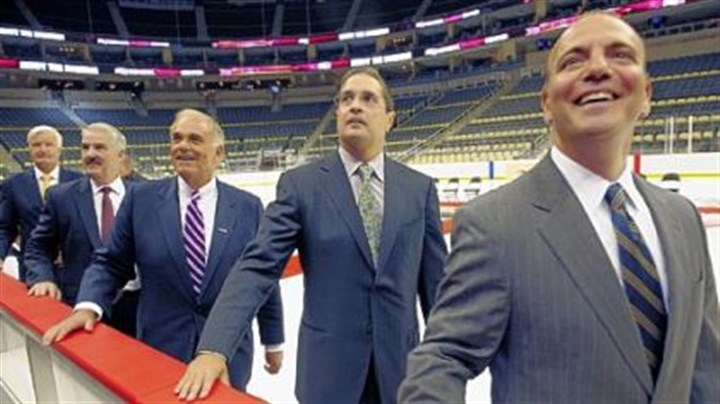 7. Consol Energy Center VIP Opening Ken Sawyer, Consol Energy Center CEO Brett Harvey, Gov. Ed Rendell, Penguins president David Morehouse and County Executive Dan Onorato.
