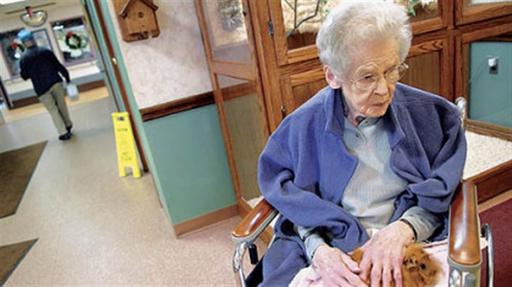 A furry friend Mary Cummins, 98, holds a guinea pig in her lap at Beacon Ridge.