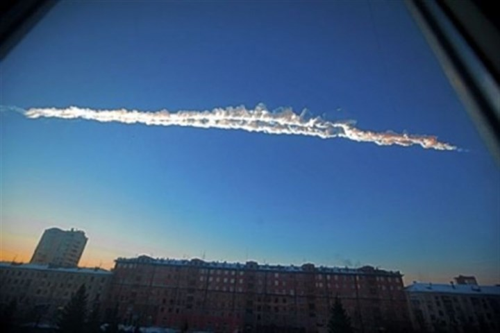 A meteorite contrail A meteorite contrail is seen Friday over Chelyabinsk, Russia.
